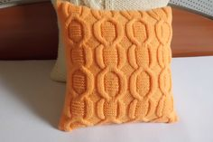 Tangerine pillow cover decorative knit pillow by Adorablewares