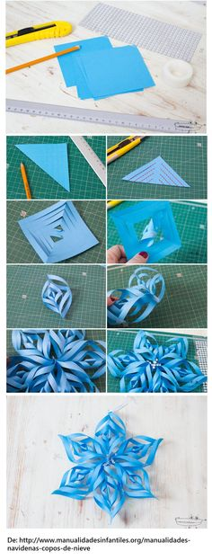 Origami Christmas Star Snow Flake Ideas For 2019 Origami Christmas Star, Christmas Paper Crafts, Diy Christmas Ornaments, Holiday Crafts, Christmas Decorations, Christmas Stars, Origami Ornaments, New Crafts, Diy And Crafts