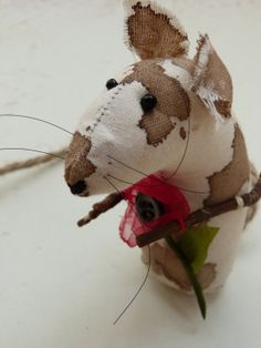 Primitive Poppy flower mouse in natural by cornishcontemporary, £9.80