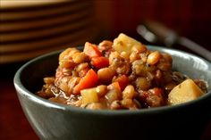Easy Lentil Stew Easy Lentil Stew from : This is a yummy Lentil Stew made with mostly what is in your pantry. It is only four servings so you won't have tons left over. Simple but delicious! Lentil Recipes, Soup Recipes, Vegetarian Recipes, Cooking Recipes, Veggie Recipes, Vegetarian Diets, Healthy Recipes, Veggie Dishes, What's Cooking