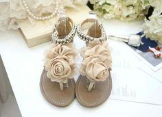 Cute white rose sandles