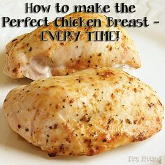 400 degrees. Place the foil over the cookie sheet. Use a little cooking spray to grease the foil. Season chicken on both sides with salt, pepper and the herbs of your choosing. Drizzle a little bit of olive oil over each breast to keep them moist. Cook 20-25 min. (internal temp 165 degrees)