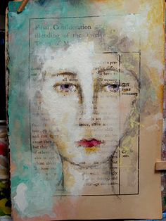 by lynne hoppe L'art Du Portrait, Abstract Portrait, Abstract Art, Art Altéré, Creation Art, Altered Book Art, Artist Sketchbook, Art Sculpture, Art Et Illustration