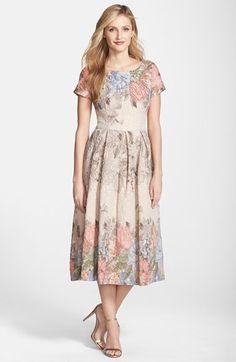 Adrianna Papell Beaded Print Metallic Jacquard Midi Dress available at #Nordstrom