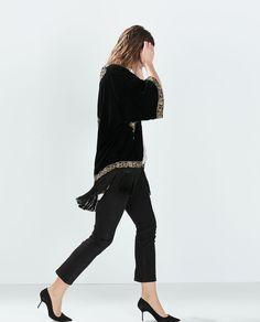 Image 3 of EMBROIDERED VELVETEEN KAFTAN from Zara
