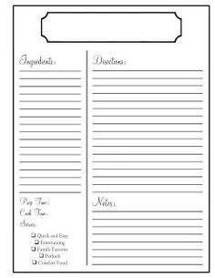 Printables paper crafts on pinterest recipe cards for Free printable full page recipe templates