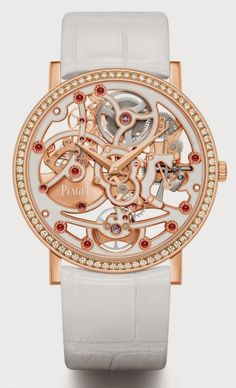 "Piaget Altiplano Skeleton Rose gold with Cal 1200E in white enamel - world first ""skeleton enamel"" watch. thinnest automatic watch movement in the world."