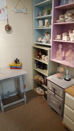 lots of vintage tea sets, teacups, crystal wear, vintage books and my personal fave upcycled and repurposed vintage shabby chic furniture, check out our facebook page fore more.