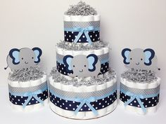 SET OF 3 - 3 Tier & 2 Mini Navy Blue and Gray Elephant Diaper Cake,  Elephant Baby Shower, Boy Centerpiece, Grey, Navy, Polka Dot, Decor