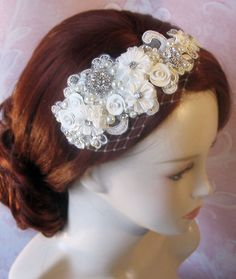 Rhinestone and Pearl Headband with Ivory Lace by TheRedMagnolia