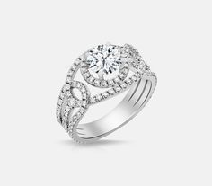 14kt white gold diamond semi-mount engagement ring with .80ctw. Center diamond sold separately. | Diamond Engagement Rings from Don's Jewelry & Design...