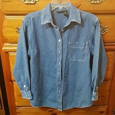Route 66 Denim shirt Cool long sleeved denim button down shirt. Made of 100% cotton and in excellent condition. Route 66 Tops Button Down Shirts