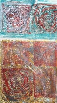 Example of texture, pattern and color. Encaustic monoprint.  Copyright 2016 Lisa JonesMoore.