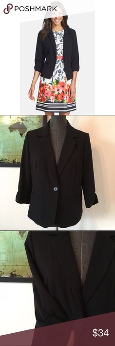 Eliza J Black Ruched Sleeve Blazer d e s c r i p t i o n  Ruching nonchalantly pushes up the sleeves of this layer-ready blazer classically tailored with narrow, notched lapels and a single-button closure. NWOT. NO TRADES.  c o n t e n t  63% polyester | 33% rayon | 4% spandex  m e a s u r e m e n t s ✂️  size + L | bust + 20"