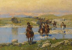 Circassian horsemen fording a river with horse-drawn carriages Oil on canvas 59 x 83,5 cm / 23,2 x 32,9 in. Signed l.r.: F.Roubaud