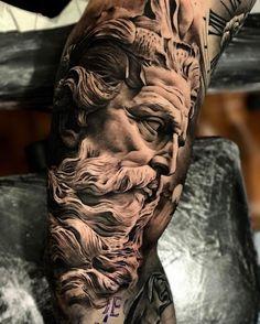 tattoo zeus design - tattoo zeus ` tattoo zeus mythology ` tattoo zeus preto e cinza ` tattoo zeus poseidon ` tattoo zeus greek gods ` tattoo zeus design ` tattoo zeus realismo ` tattoo zeus desenho Zeus Tattoo, Statue Tattoo, Hades Tattoo, Best Sleeve Tattoos, Tattoo Sleeve Designs, Leg Tattoos, Body Art Tattoos, Tatoos, Gott Tattoos
