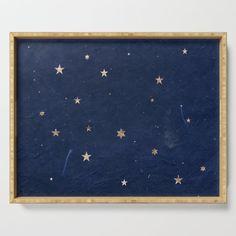 Good night - Leaf Gold Stars on Dark Blue Background Serving Tray by Western Exposure - x x 1