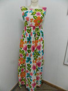Vintage 1960s Era The Liberty House Hawaii by Nalii Cotton Floral Maxi Dress  #LibertyHousebyNaliiHawaii