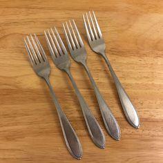 4 Interpur INR5 Dinner Forks 7 1/2 Inch Beaded Edge Stainless Steel  #Interpur
