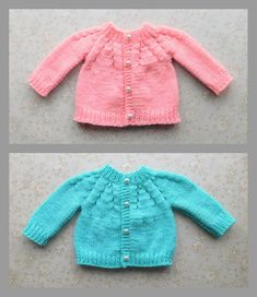 Marianna's Lazy Daisy Days: All-in-One Baby Cardigan with Button Front Baby Cardigan Knitting Pattern Free, Baby Sweater Patterns, Knitted Baby Cardigan, Baby Dress Patterns, Cardigan Pattern, Baby Knitting Patterns, Toddler Cardigan, Kids Knitting, Crochet Patterns