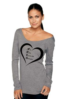 New Off The Shoulder Triblend Scoop Neck Pullover - For The Love of Animals SM-2XL by FTLA Apparel
