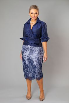 Beaded Lace Pencil Skirt - Navy + Silver for the Mother of the Bride / Groom Mother Of The Groom Looks, Mother Of The Bride Fashion, Mother Of The Bride Dresses Long, Bride Groom Dress, Groom Outfit, Vestidos Mob, Mob Dresses, Dress Outfits, Fall Outfits