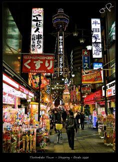 Tsutenkaku Tower - Street - Osaka 2009 Japan