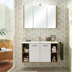 badezimmer waschplatz in weiss glanz mit eiche riviera raipur 66 waschtisch 100cm mit led spiegelschrank b h t 101 200 46cm