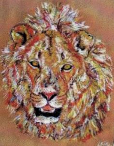 Painting of an African lion created with soft (chalk) pastels on textured paper - Kelly Goss Art