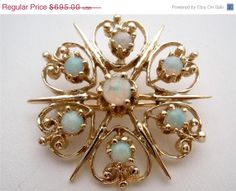 On Sale Today Natural Opal 14K Gold Brooch by TheJewelryLadysStore, $556.00
