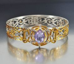 Silver Filigree Alexandrite Art Deco Bracelet Gold  Vintage Jewelry