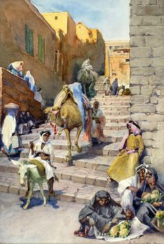Anna Rychter May 1865 - 1955:  Figures in Jerusalem