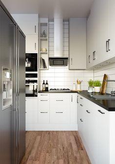 Scandinavian kitchen black counter top