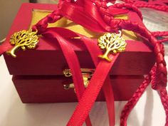 Red Passion Tree of Life Wedding Hand Fasting/ Binding Cord with Keepsake Box on Etsy, $39.99