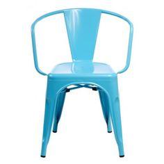 Krzesło Paris Arms niebieskie inspirowan e Tolix
