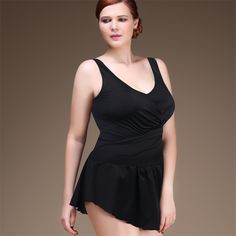 Solid Color Skirted Push Up Halter V Neck Sexy One-Piece Bathing Suit 4 Colors 3XL-6XL