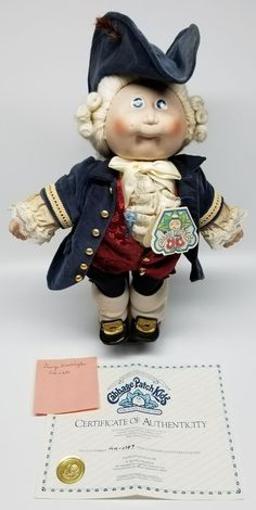 Vintage 1985 Porcelain Cabbage Patch Kid George Washington 0289 Very Unique Cabbage Patch Kids Boy, Toys R Us, Bake Sale, George Washington, Old Toys, Kids Boys, Statues, Bears, To My Daughter