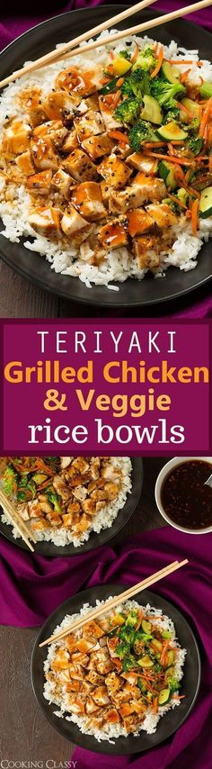 Teriyaki Grilled Chicken and Veggie Rice Bowls – hearty, healthy and totally… Loading. Teriyaki Grilled Chicken and Veggie Rice Bowls – hearty, healthy and totally… Asian Recipes, New Recipes, Cooking Recipes, Healthy Recipes, Recipies, Sauce Recipes, Heart Heathy Recipes, Easy Clean Eating Recipes, Cheap Recipes