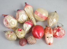 A very special collection of antique and vintage red Christmas tree ornaments in various shapes, sizes. Everything you need to make your holiday tree