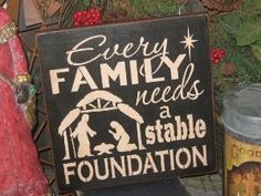 """Primitive Wood Painted Christmas Holiday Sign """" Every Family Stable Foundation """" Love SPirit Noel SUBWAY Sign art Country Folkart Winter on Etsy, $21.95 by leta"""