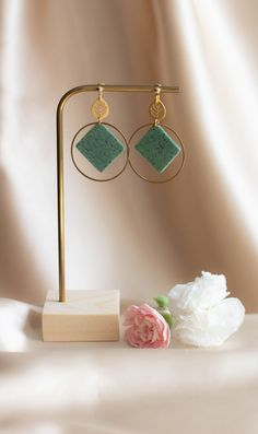 This unique handmade earrings ensures to make your outfit stunning. These are made from ultra light polymer clay, that won't weigh you down. Stone Earrings, Women's Earrings, Green And Gold, Mint Green, Boho Fashion Summer, Beautiful Gift Boxes, Earrings Handmade, Jewelry Box, Polymer Clay