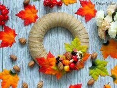 Design by Suzi: Venček z jutovej stuhy (Fallspiration Burlap, Wreaths, Fall, Diy, Design, Home Decor, Autumn, Decoration Home, Hessian Fabric
