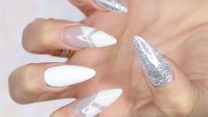 Young Nails' Greg Salo creates a geometric acrylic nail design. Ombre Nail Designs, Cute Nail Designs, Acrylic Nail Designs, Acrylic Nails, 3d Nails, Stiletto Nails, Black And White Nail Designs, Gold Nail Art, Geometric Nail Art