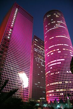 Beautiful night view of the Azrieli Towers, Tel Aviv, ISRAEL.
