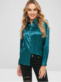 Button Up Plain Satin Shirt Cute Blouses, Blouses For Women, Online Shirt Shopping, Satin Bluse, Satin Shirt, Sexy Blouse, Satin Top, Retro Dress, Satin Dresses