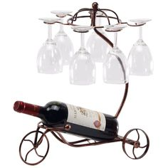 Vintage Parisian Style Tricycle 6 Wine Glass and Bottle Server Display Rack Table Top Organizer Stand