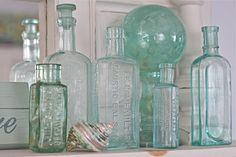 aqua vintage bottles