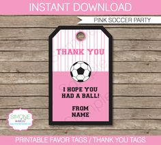 Girls Soccer Party Favor Tag or Thank You Tag  by SIMONEmadeit