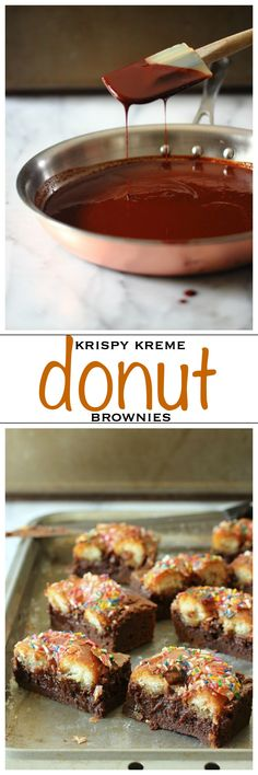 Krispy Kreme donuts baked on top of a chocolate brownie batter | Foodness Gracious