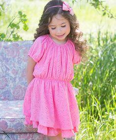 Look at this #zulilyfind! Coral Eyelet Dress - Toddler & Girls by Sweet Charlotte #zulilyfinds